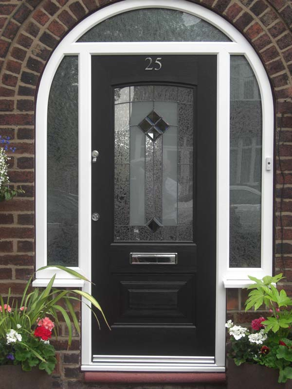 Double black front glass doors for Composite windows